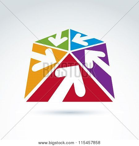 3D Abstract Emblem With Five Multidirectional Arrows Placed In Triangles – Up, Down, Left, Right. Co