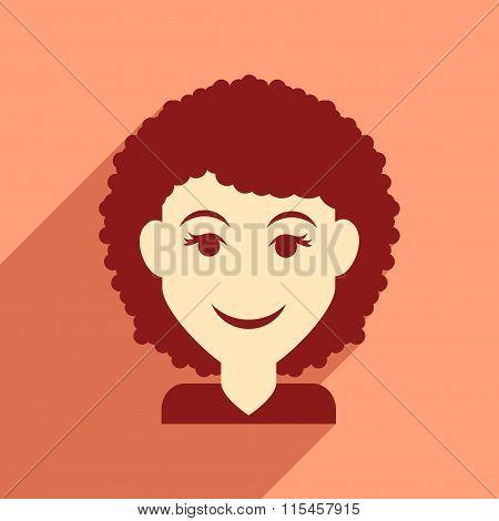 Flat web icon with long shadow women's haircut