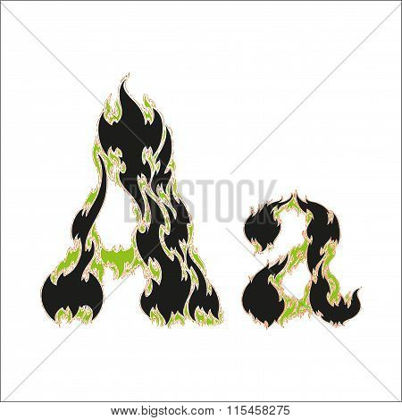 fiery font black and green letter A on white background