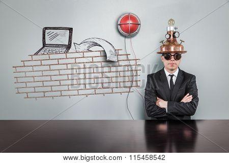 Junk mail concept with alert light and vintage businessman