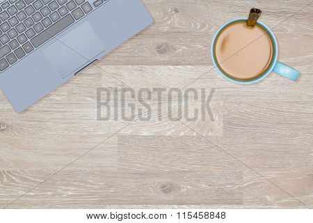 Hero Header Image Of Tidy Desktop With Mug Of Coffee