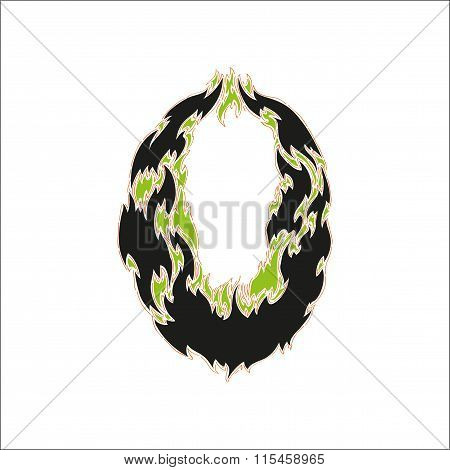 fiery font black and green number 0 on white background