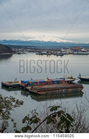 Clouds Over Rainier And Port 2