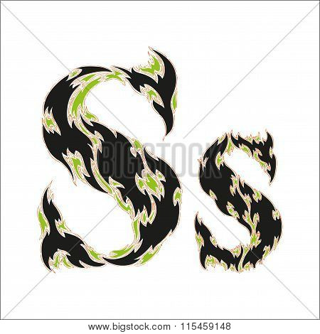 fiery font black and green letter S on white background