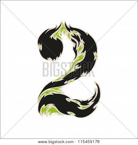 fiery font black and green number 2 on white background