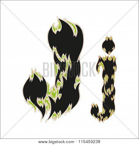 fiery font black and green letter J on white background