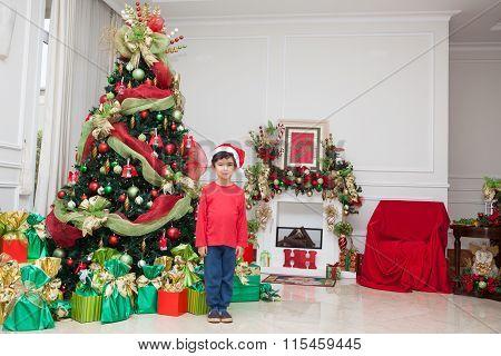 Boy Standing Near  Fireplace