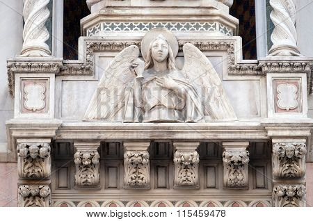 FLORENCE, ITALY - JUNE 05:  Angel, Portal of Cattedrale di Santa Maria del Fiore (Cathedral of Saint Mary of the Flower), Florence, Italy on June 05, 2015