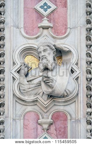 FLORENCE, ITALY - JUNE 05: Isaac, Portal of Cattedrale di Santa Maria del Fiore (Cathedral of Saint Mary of the Flower), Florence, Italy on June 05, 2015