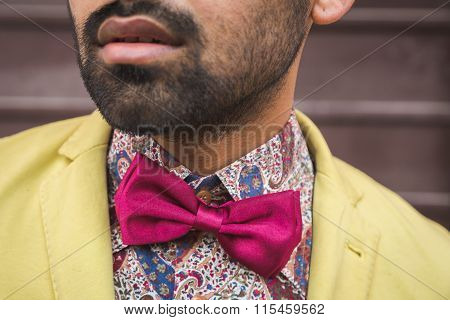 Detail Of An Indian Handsome Man Posing In An Urban Context
