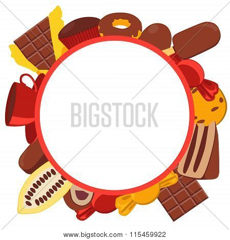 Frame chocolate products. Chocolate, candy and cocoa fruit. Vector illustration