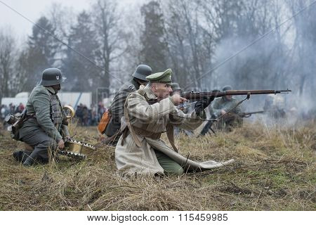 White army officer on the battlefield. International military-historical festival