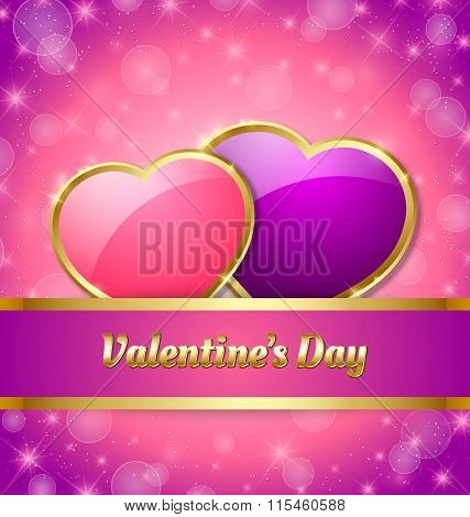 Valentine's Day card template with glossy hearts and glittering effect in the background