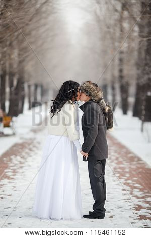 Asian bride and groom kissing in the middle of snowy winter alley. Young man wearing gray coat, fur