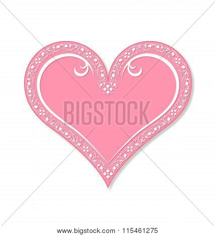 Pink decorated Valentine's heart isolated on white background
