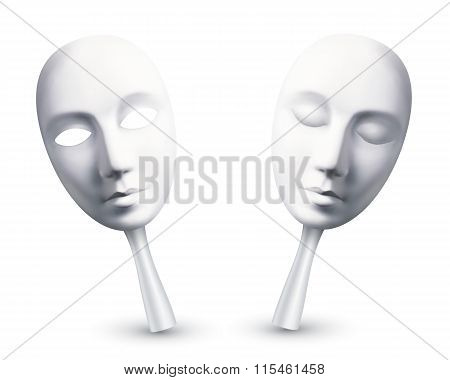 White carnival masks with open and closed eyes