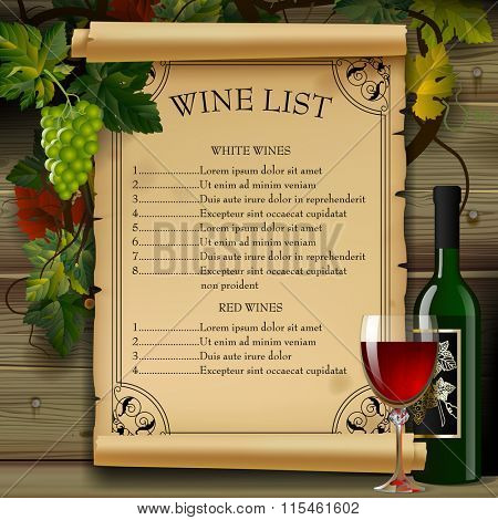 Wine list with old parchment, grapes, bottle and wineglass on wood background. Vintage menu template. Vector illustration