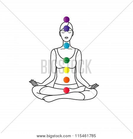 The pose of lotus with chakra symbol.