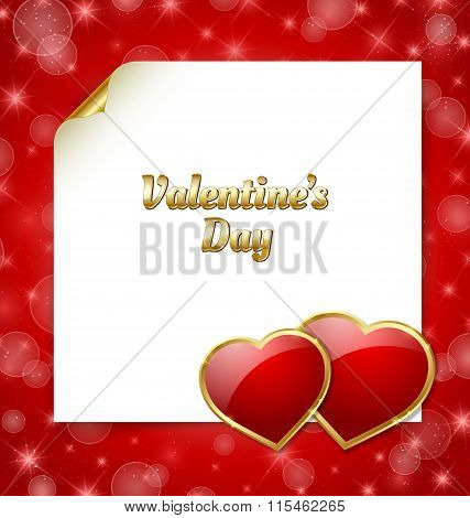 Valentine's day document template with two glossy hearts on red background