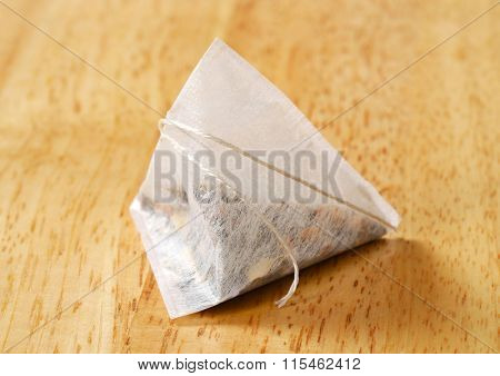 dried tea in pyramid biodegradable bag