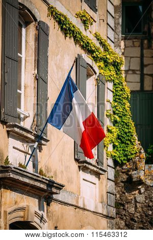 French Tricolours National Flag Decorate Building In France