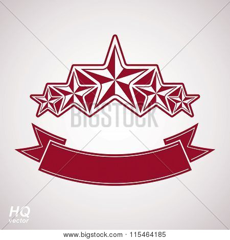 Vector monarch symbol. Festive graphic emblem with five pentagonal stars and curvy ribbon, decor