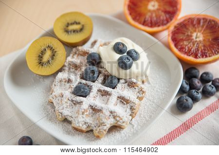 Home made waffles with fresh fruit