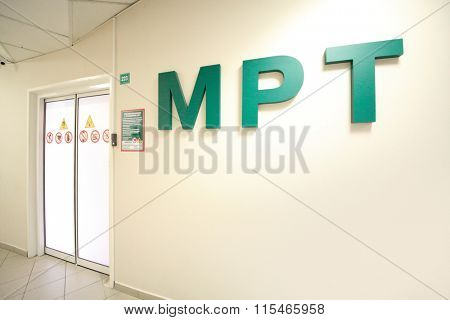 entry to premises for magnetic resonance imaging, view from hallway, large writing on wall -magnetic resonance imaging (MRI)