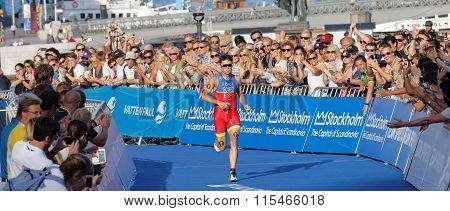 Triathlete Javier Gomez A Few Meters Before Winning The Triathlon Event
