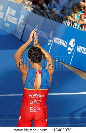 Read View Of Triathlete Javier Gomez After Winning A Triathlon Competition