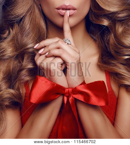 Beautiful Sexy Woman With Long Blond Curly Hair ,red Bow On Her Hands