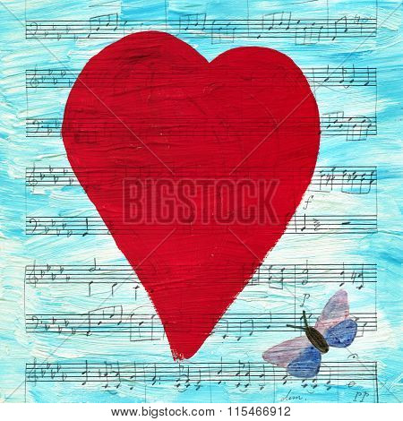 Red Heart On Blue Background With Sheet Music And Butterfly