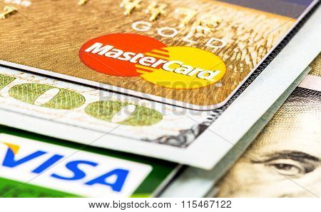 American Dollar Bills With Credit Cards Visa And Mastercard