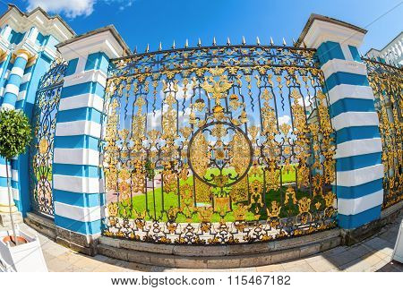 Openwork gate of Catherine Palace - the summer residence of the Russian tsars