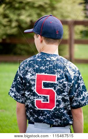 Baseball Boy Outside From Behind In Camo Jersey