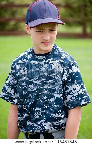 Portrait Of Baseball Player In Camo Jersey