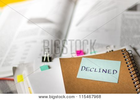 Declined; Stack Of Documents With Large Amount Of Analytic Material.