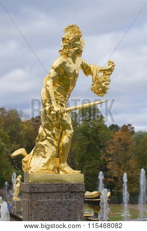 Statue of Perseus with head of Medusa. A fragment of the Grand cascade, Peterhof