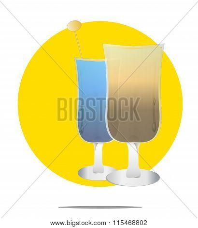 Illustration Of Two Cocktails With Yellow Circle Background