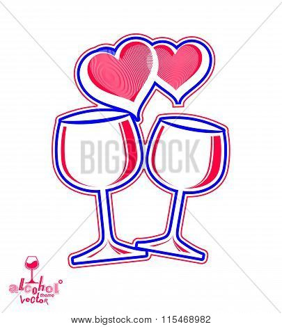 Artistic Illustration Of Wineglasses With Two Elegant Loving Hearts. Valentines Day Concept