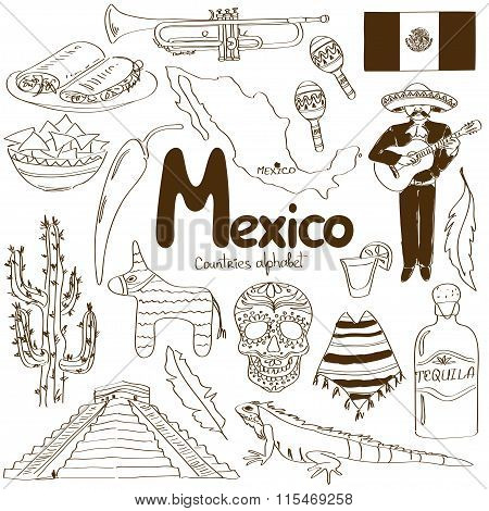 Collection Of Mexico Icons.