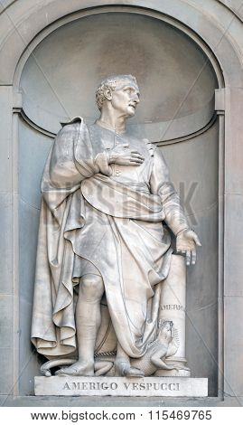 FLORENCE, ITALY - JUNE 05: Amerigo Vespucci in the Niches of the Uffizi Colonnade in Florence, Italy, on June 05, 2015