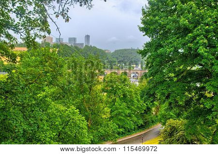 Green trees and bridge in Luxembourg, Benelux, HDR