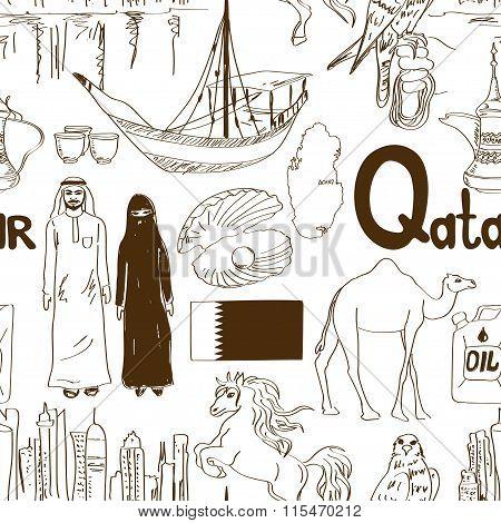 Sketch Qatar Seamless Pattern.