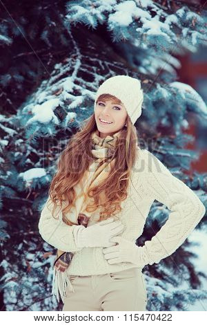 Young Woman In Wintertime Outdoor