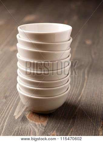 White Ceramic Stacked Empty Bowls