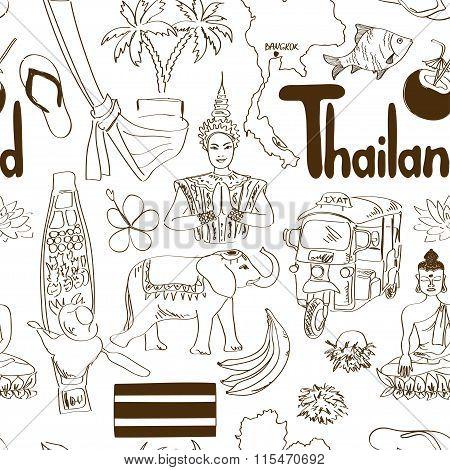 Sketch Thailand Seamless Pattern.