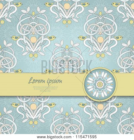 Card With Seamless Background And Ribbon