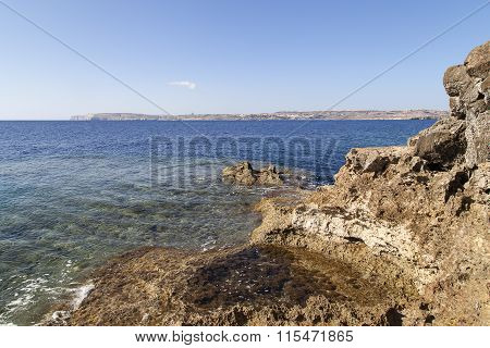 View On Sea And  Island Gozo From Malta, Europe