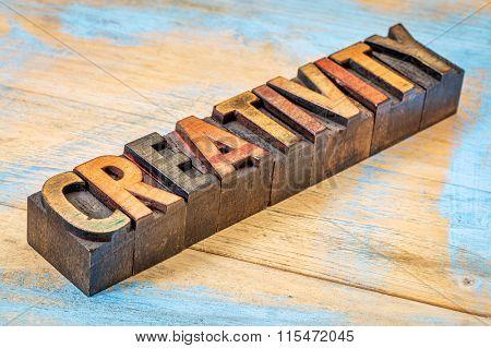creativity word - diagonal text in vintage  letterpress wood type printing blocks